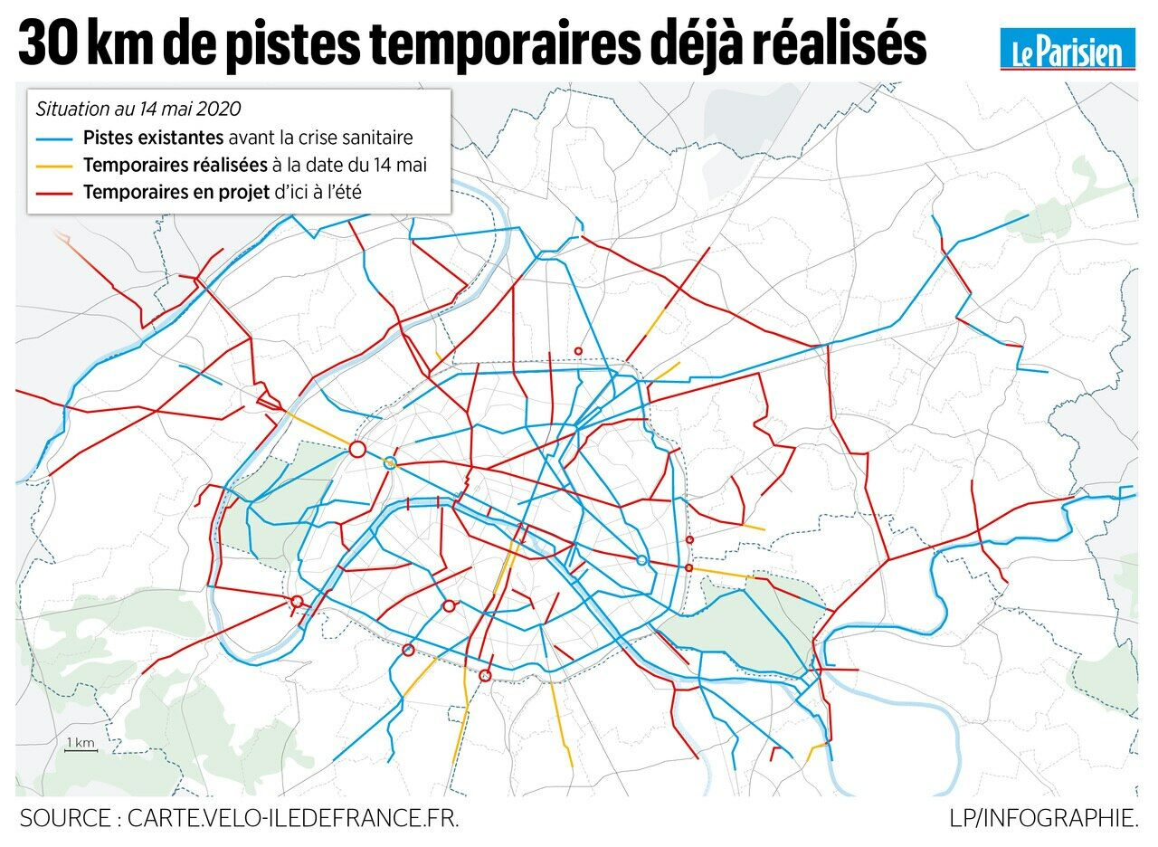 carte piste cyclable paris Déjà 30 km de pistes cyclables temporaires sur le Grand Paris