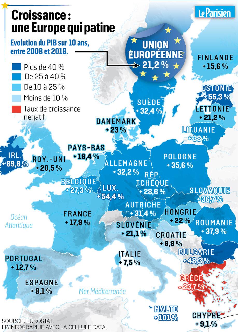Carte Union Europeenne 2019.L Europe En Cartes Des Economies Qui Patinent Le Parisien