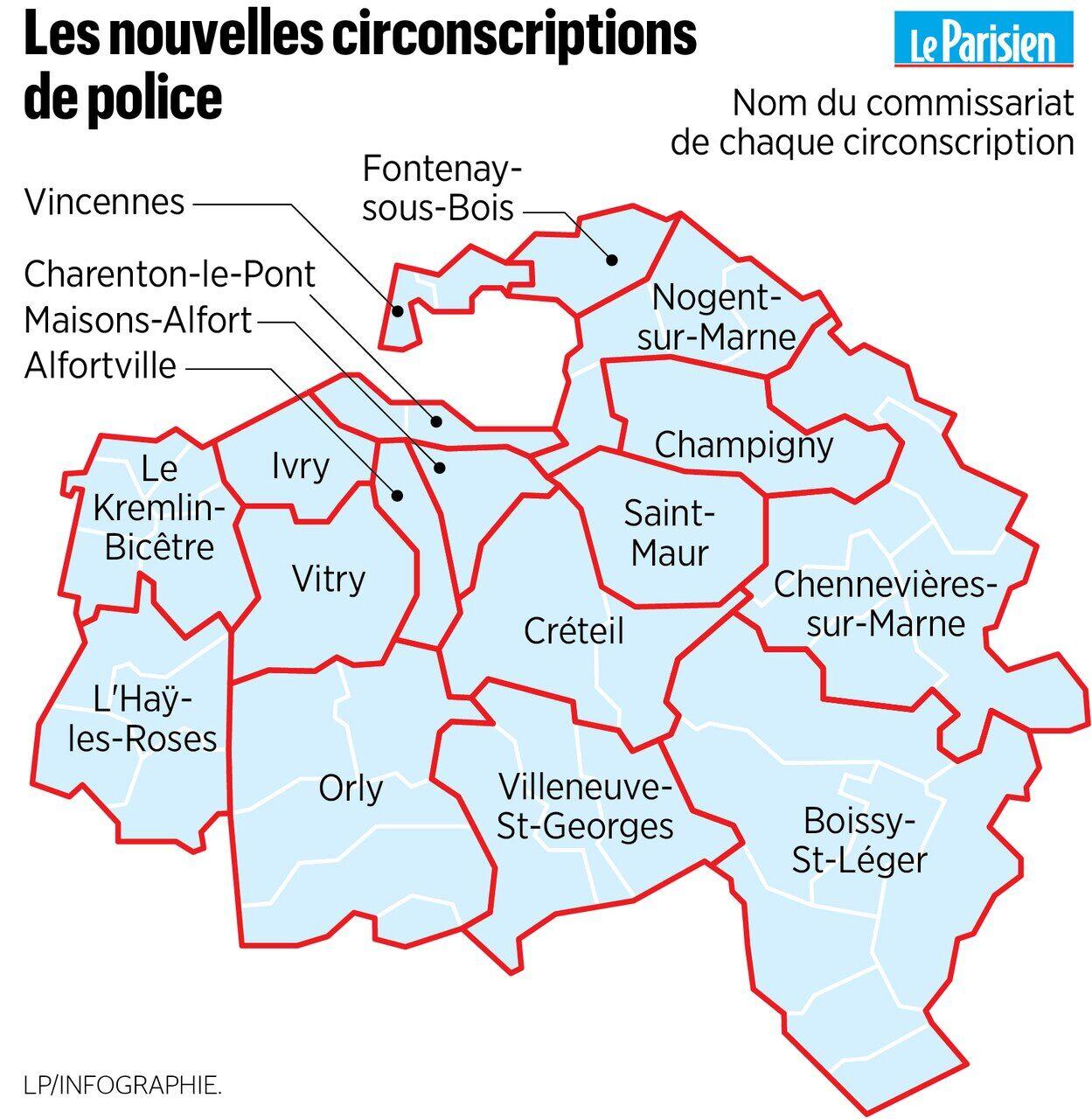 carte circonscription val d oise Val de Marne : la nouvelle carte des circonscriptions de police