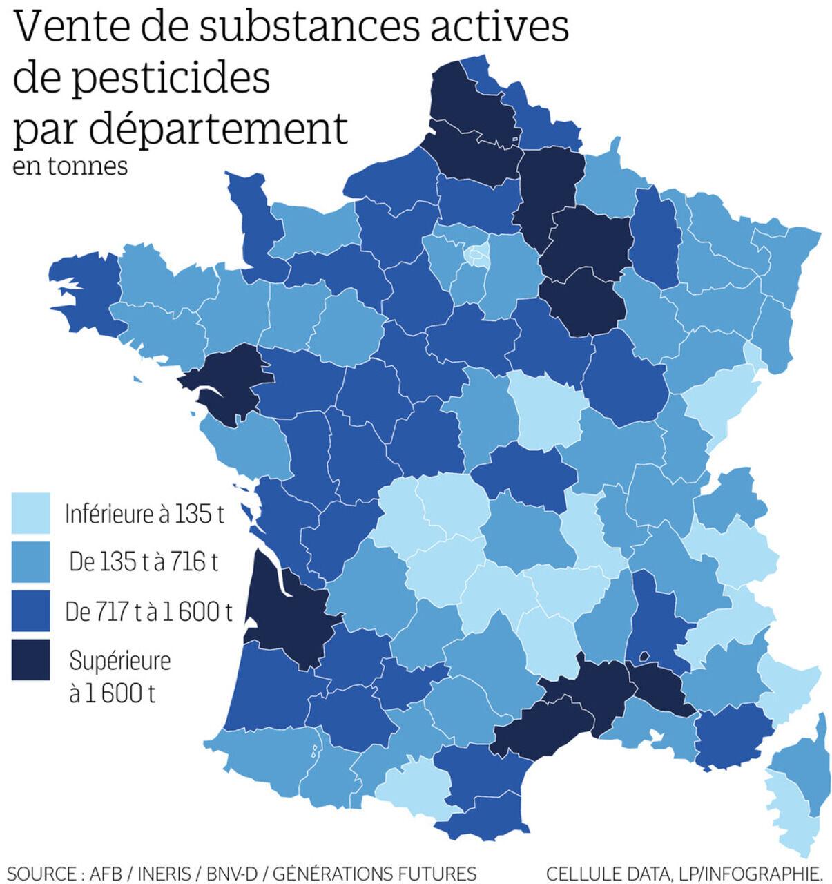 La Carte De France Des Departements Les Plus Consommateurs De Pesticides Le Parisien