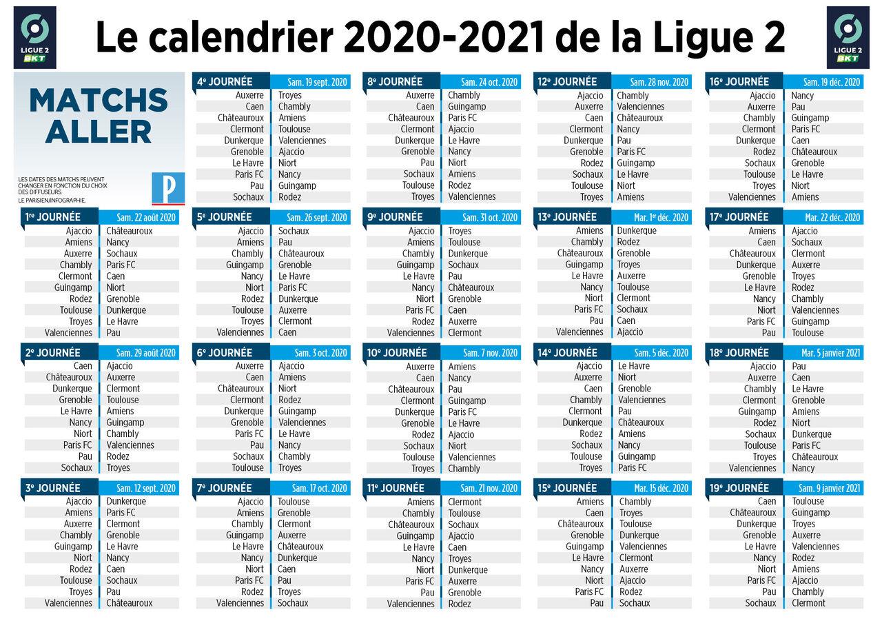 Calendrier L2 2021 Ligue 2 : le calendrier de la saison 2020 2021 est connu   Le Parisien