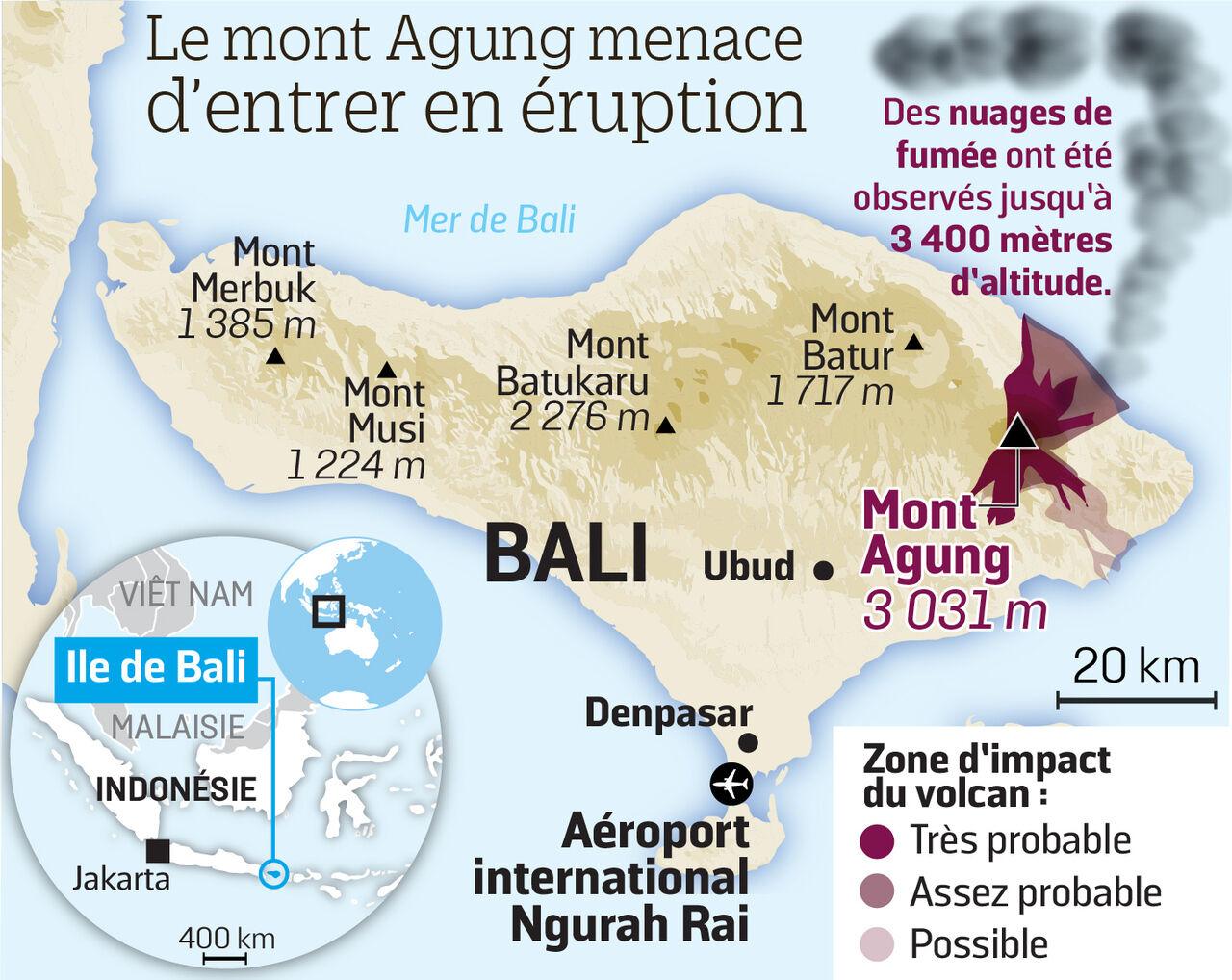 Carte Bali Volcan.Bali Pourquoi Les Volcans Empechent Les Avions De Voler