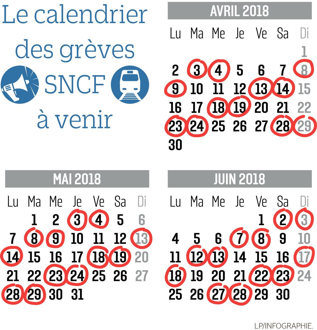 Calendrier Des Greves A La Sncf.Sncf Voici Les Jours De Greve Prevus Jusqu En Juin Le