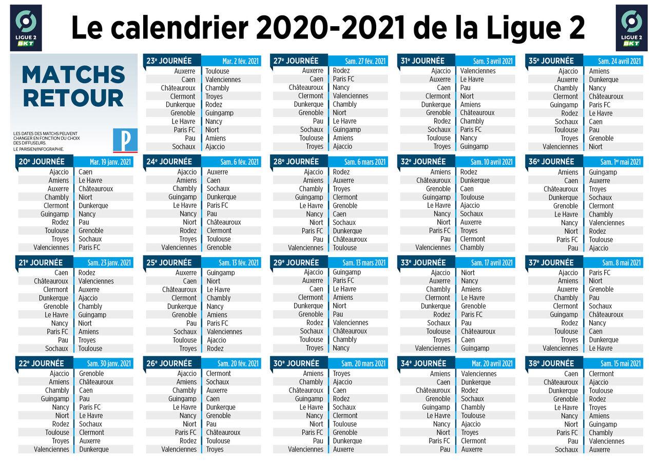 Calendrier Impot 2021 Ligue 2 : le calendrier de la saison 2020 2021 est connu   Le Parisien