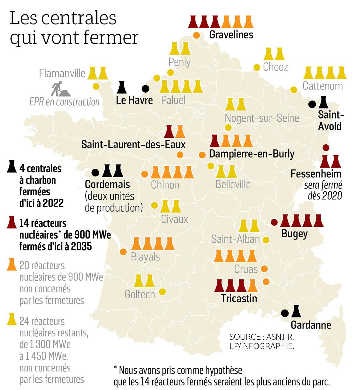 carte des centrales nucléaires en france 2020 La France veut fermer 14 réacteurs nucléaires sur 58   Le Parisien