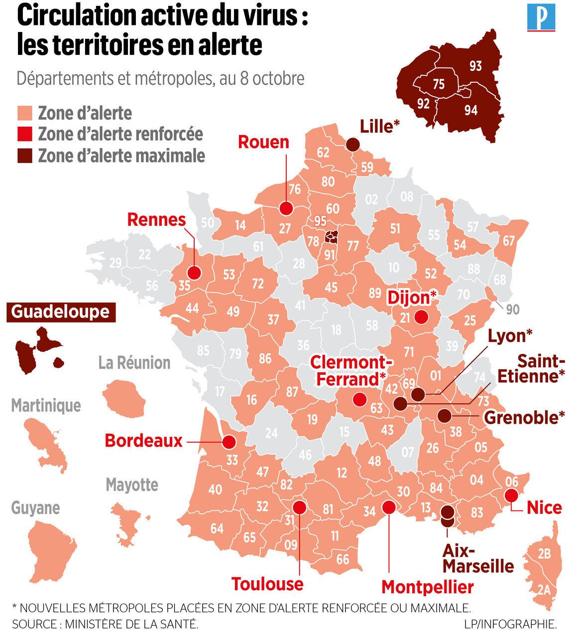 Covid 19 Alerte Renforcee Maximale La Nouvelle Carte De L Epidemie Le Parisien