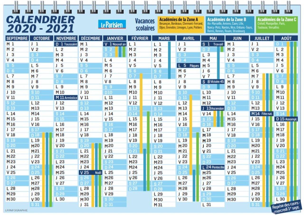 Calendrier Scolaire 2021 à Imprimer Dates des vacances : le calendrier scolaire 2020 2021 à imprimer